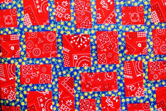 Vintage 1980s quilt fabric in unused cotton with red/ yellow/ white crazy quilt pattern on ...