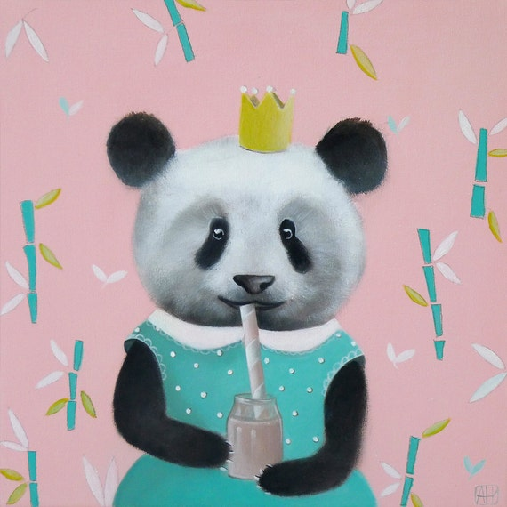 Panda bear nursery art painting children 39 s art kids by for Panda bear decor