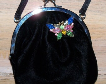 Restyled Assemblage Purse Black Glam Evening Wedding Bridal Flower Girl Junior Attendant Gift for Her Birthday Christmas Cosplay