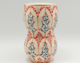 Ceramic Handmade Small Vase - with Melon, Red and Navy Pattern