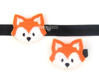 Hair Clip OR Headband - Felt hair clip, felt baby headband, fox hair clip, fox headband, fall autumn Halloween girls orange girls cute clips