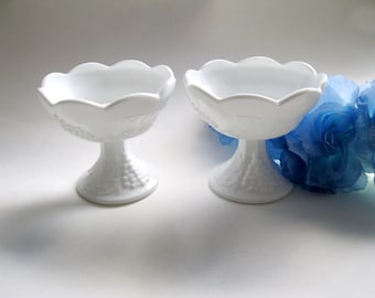 Milk Glass Candle Holders Grape Design Vintage Wedding - FL/CT