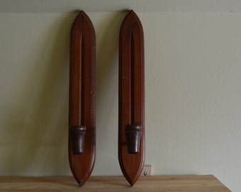 Pair Mid Century Teak Wall Sconces
