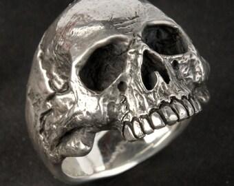 Silver Skull Ring, Small - Medium size, Mens or Women's Custom Sterling Silver Skull Ring