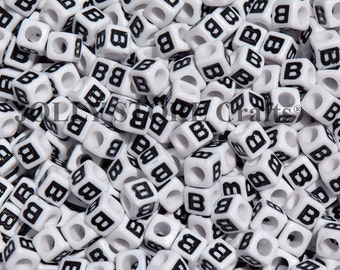 Letter-B, 7x7mm Cube Alphabet Beads Brite White with Glossy Black Letter B, 100pc