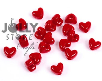100 Red Heart shaped Pony Beads,  Vertical hole for valentines day jewelry kandi party beading Free Shipping