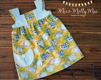 Girls Size 6/7 Golden Roses Tilly Dress