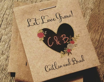Personalized MINI Seeds Rustic Heart themed Let Love Grow Sunflowers Flower Seed Packet Bridal Wedding Shower Favors Shabby Chic Cheap