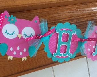 Owl Birthday Banner, Owl Banner, Owl Birthday Decorations, Pink and Teal Owl Happy Birthday Banner, Matching Pom Pom Available