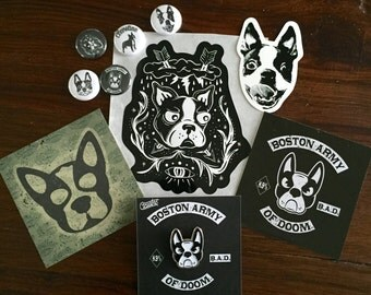 Clevotine Deluxe Boston Terrier Button Sticker Pack