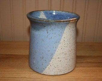 Blue and white utensil holder, wine cooler, brush holder, supply holder, handmade potter