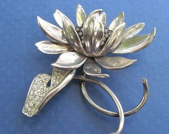 Summer Sale Antique Sterling Silver Rhinestone Water Lily Brooch Art Deco Pin Jewelry