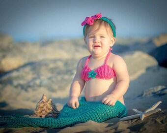 Crochet mermaid photo prop, 5 sizes, handmade, baby shower mermaid gift, mermaid baby outfit, 3 piece set, mermaid costume, beach photo prop