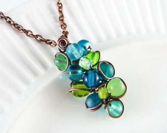 Wire Wrapped Pendant Turquoise and Peridot Copper Jewelry Wire Wrapped Jewelry Copper Necklace Free Form Turquoise Necklace Copper Wire