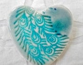 Heart Brooch, Peacock Feather, Peacock pin, Turquoise pin, porcelain brooch, Valentine Day, Peacock jewelry, pottery pin, ceramic brooch