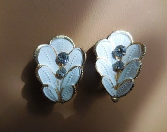 Vintage 1950s to 1960s Gold and White Gold Tone Clip on Lightweight Earrings Non Pierced Austria Made Rhinestones