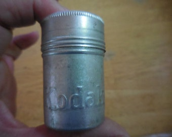 Vintage 1940s to 1950s Aluminum Kodak Film Container Dented Small Stash Metal Embossed Retro