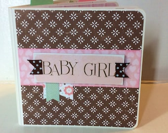 Baby Girl Scrapbook Premade Pages Album- 5x5 Board Book baby shower, new baby mini album