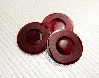 """Black Cherry Layers: 1-1/16"""" (27mm) Dark Red Buttons - Set of 3 Vintage Buttons"""