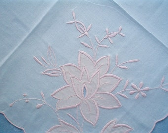 New Vintage Handkerchief with Large Pink Rose Applique Unused Handkerchief - Two Available