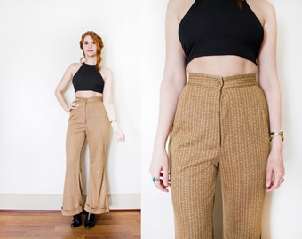 Vintage 1970s Pants - Brown Knit High Waist Wide Leg Trousers 70s - Extra Small