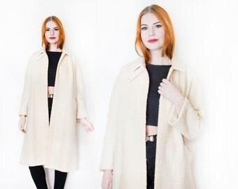 Vintage 1950s Coat - Cream Wool Peter Pan Collar Pea Coat 50s Jacket - Small / Medium