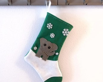 Elephant Personalized  Christmas Stocking by Allenbrite Studio
