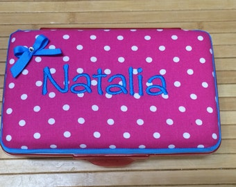 Personalized Kids School Pencil Box Case Hot Pink Dots