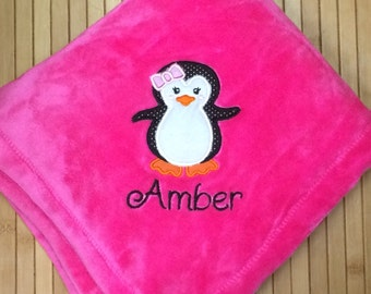 Embroidered Personalized Penguin Girl Baby Blanket Monogrammed