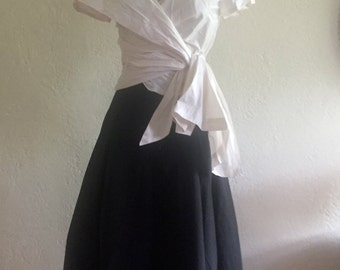Custom Made  MARIA SEVERYNA Special Occasion Mother of the Bride Outfit Silk Blouse and Long Skirt