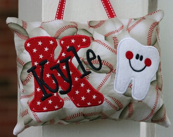 Tooth Fairy Pillow for boys personalized - baseball - SUPER CUTE - tooth chart - tooth pocket - Boy gift - stars - red and navy - keepsake