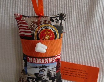 Tooth Fairy Pillow with tooth holder: US Marines