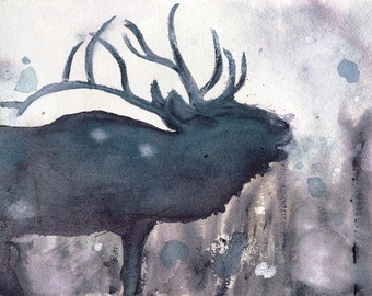 Elk Wildlife Art Print, 10 x 8 Elk Art,  Wildlife Art