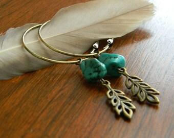 Turquoise hoop earrings leaf earrings beaded jewelry free spirit bohemian jewelry gypsy jewelry bohemian earrings boho style