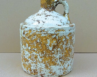 Antique Salt Glazed Stoneware Pottery White Painted Jug - Very Nice Primitive Piece!!