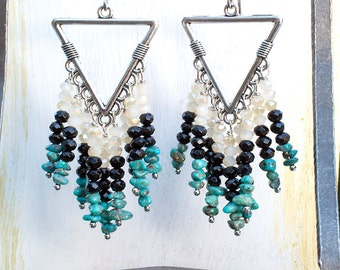 Stunning CORN GODDESS Long Beaded Chandelier EARRINGS with Turquoise and Black Tourmaline