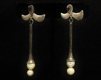 Antonio Pineda Pearl Earrings Fine 970 Silver Screw-Back Crown Hallmark