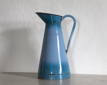Antique French Enamel Pitcher/ Jug Blue