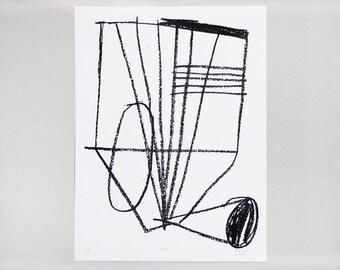 "Screenprint handmade original 30 X 40 cm Black & White  /  ""Pop!"" """