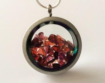RAW GARNET Filled LOCKET/ Gemstone Filled Pendant Necklace / January Birthstone / Garnet Chips locket / Healing / Capricorn Aquarius Gift