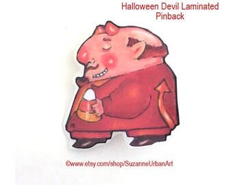 SALE!! Illustrated Halloween Devil Brooch from Original ink Illustration