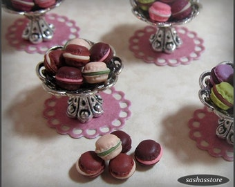 Miniature dollhouse macarons, french bakery, dollhouse miniature food, french food