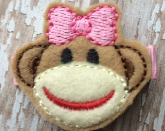 Pink Tan SOCK MONKEY Felt Hair Clip Clippie Baby Toddlers Girls