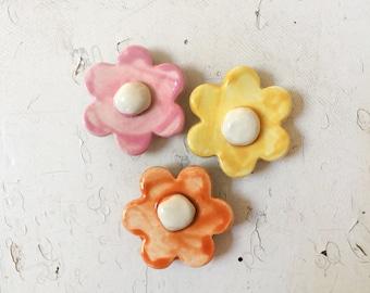 Set of Three Mini Retro Flower Magnets