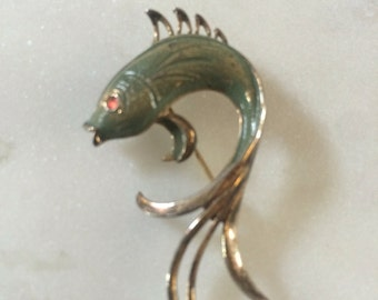 Sterling Silver Gold Washed Brooch Sea Creature