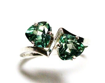 "Topaz ring, green topaz, anniversary ring, green ring, 2 stone ring, green,  s 7 ""Weeping Willow"""