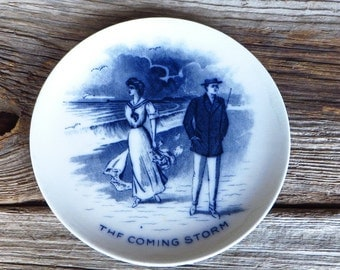Flow Blue Plate The Coming Storm Whimsical Cartoon Plate Fondeville and Van Iderstine England Edwardian Blue and White Plate Early 1900s