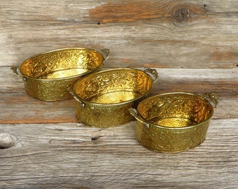 3 Brass Planters Ornate Nesting Bowls with Handles 1970s Home Decor Farmhouse Chic Decorative Home Accents