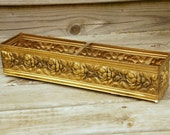 Brass Planter Box with Raised Roses, Metal Window Box, Garden Box, Made in England
