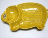 USA Pottery Elephant Chip And Dip Hindustani Recipe Dish Golden Yellow
